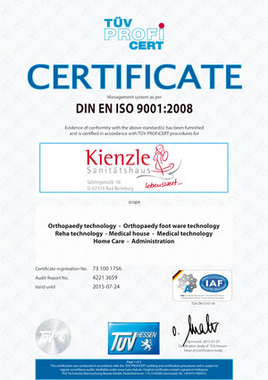 CERTIFICATE DIN EN ISO 9001:2008 ::: Management system as per Orthopaedy technology - Orthopaedy foot ware technology - Reha technology - Medical house - Medical technology - Home Care - Administration